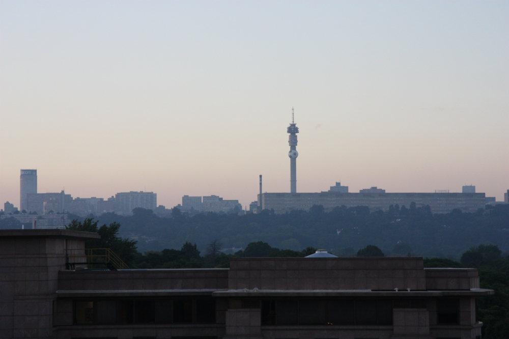 A view of Johanesburg city skyline at sunrise