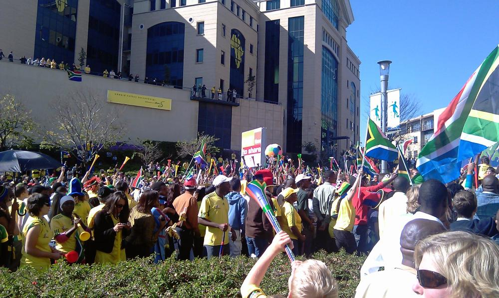 South African flags and vuvuzelas on the steets of Sandton, Johannesburg